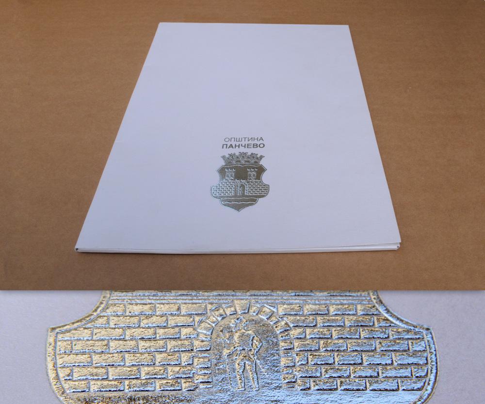 Fascikla sa foliotiskom (srerbna folija) i blindrukom (suvim žigom)
