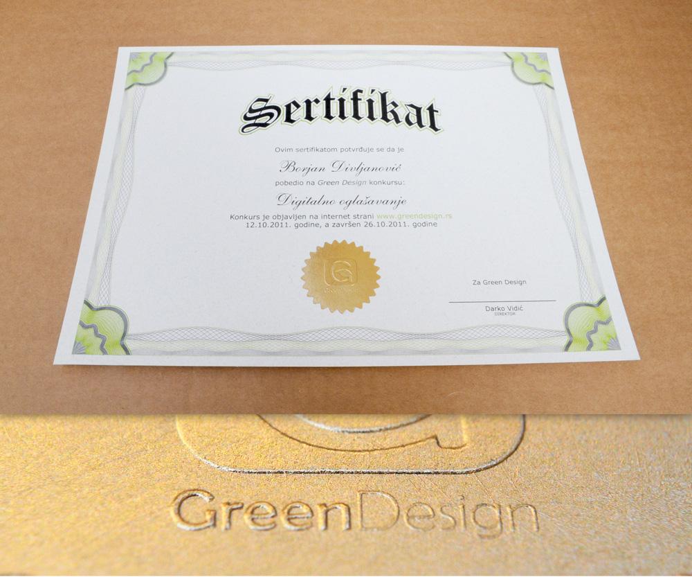 Sertifkat sa žigom u tehnici zlatotiska (foliotiska) i blindruka